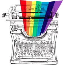 typewriter with rainbow